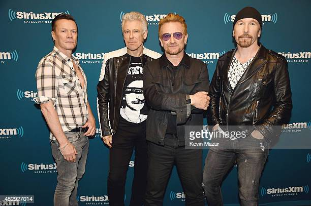 Larry Mullen Jr Adam Clayton Bono and The Edge of U2 attend SiriusXM's 'Town Hall' with U2 at SIRIUS XM Studio on July 28 2015 in New York City