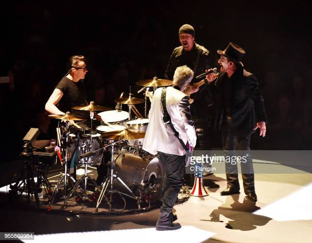 Larry Mullen Jr Adam Clayton The Edge and Bono of U2 perform during the 'eXPERIENCE iNNOCENCE' Tour at SAP Center on May 7 2018 in San Jose California