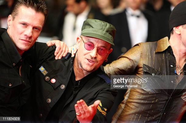 Larry Mullen Jr and Bono of U2 during 2007 Cannes Film Festival U2 3D Premiere at Palais des Festival in Cannes France