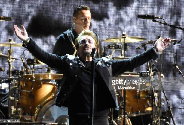 Larry Mullen Jr and Bono of U2 perform during the band's 'Joshua Tree Tour 2017' at Levi's Stadium on May 17 2017 in Santa Clara California