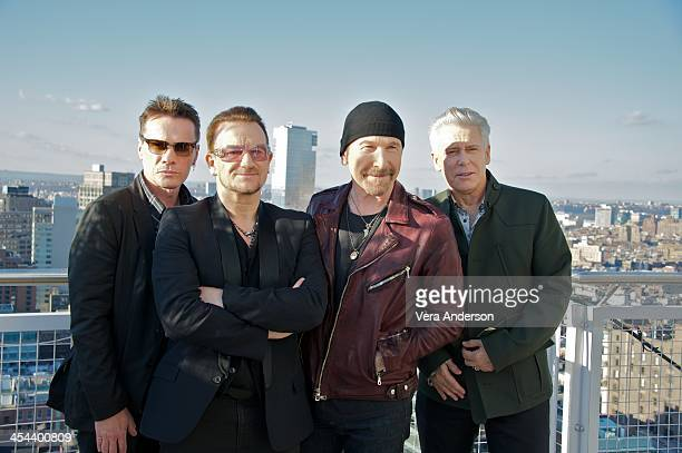 Larry Mullen Jr Bono The Edge and Adam Clayton at the U2 Press Conference at the Mondrian Soho on December 7 2013 in New York City