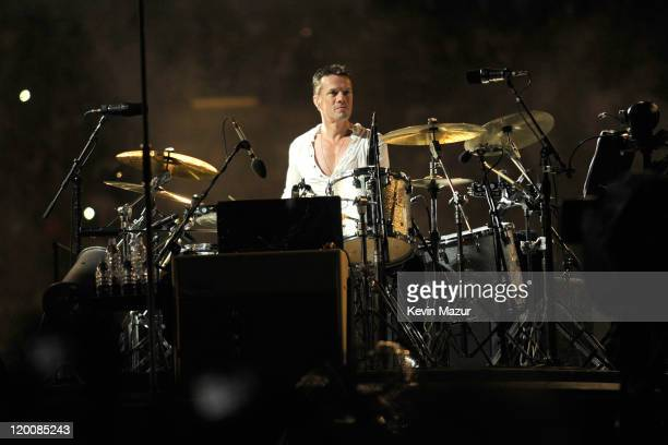 Larry Mullen Jr of U2 performs during the U2 360 Tour at New Meadowlands Stadium on July 20, 2011 in East Rutherford, New Jersey.