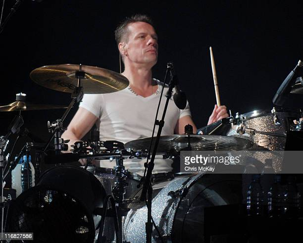 Larry Mullen Jr of U2 performs during the U2360 tour at the Georgia Dome on October 6 2009 in Atlanta
