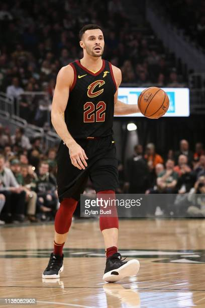 Larry Nance Jr #22 of the Cleveland Cavaliers dribbles the ball in the first quarter against the Milwaukee Bucks at the Fiserv Forum on March 24 2019...