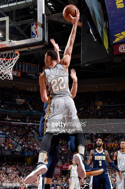 Larry Nance Jr #22 of the Cleveland Cavaliers dunks against the Denver Nuggets on March 3 2018 at Quicken Loans Arena in Cleveland Ohio NOTE TO USER...