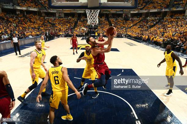 Larry Nance Jr #22 of the Cleveland Cavaliers handles the ball against the Indiana Pacers in Game Six of Round One of the 2018 NBA Playoffs on April...