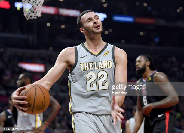 Larry Nance Jr #22 of the Cleveland Cavaliers reacts to his foul during the first half against the LA Clippers at Staples Center on March 9 2018 in...