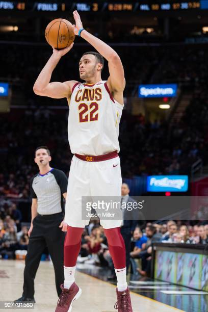 Larry Nance Jr #22 of the Cleveland Cavaliers shoots against the Detroit Pistons during the second half at Quicken Loans Arena on March 5 2018 in...