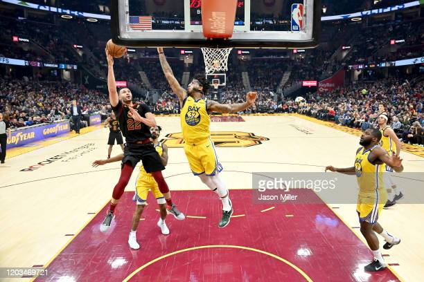 Larry Nance Jr #22 of the Cleveland Cavaliers shoots over Marquese Chriss of the Golden State Warriors during the second half at Rocket Mortgage...