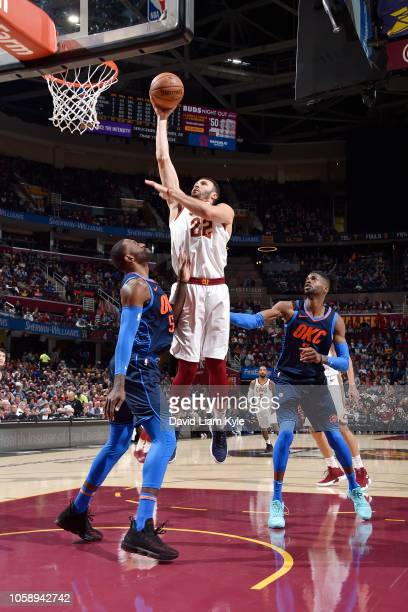 Larry Nance Jr #22 of the Cleveland Cavaliers shoots the ball against the Oklahoma City Thunder on November 7 2018 at Quicken Loans Arena in...