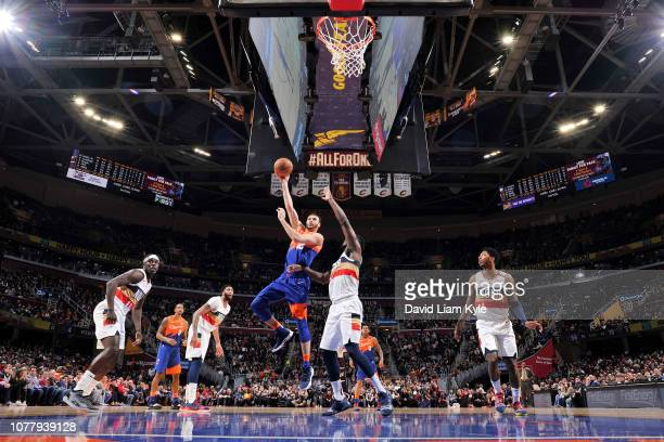 Larry Nance Jr #22 of the Cleveland Cavaliers shoots the ball against the New Orleans Pelicans on January 5 2019 at Quicken Loans Arena in Cleveland...
