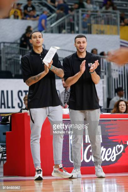 Larry Nance Jr #24 of the Cleveland Cavaliers and Kyle Kuzma of the Los Angeles Lakers coach during the NBA Cares Unified Basketball Game as part of...