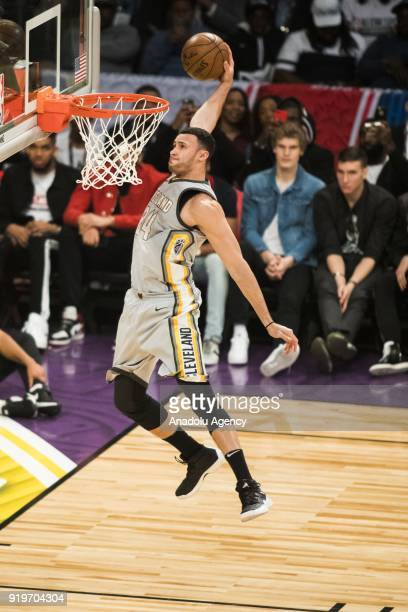 Larry Nance Jr #24 of the Cleveland Cavaliers competes in final round of the Verizon Slam Dunk Contest during State Farm AllStar Saturday Night as...