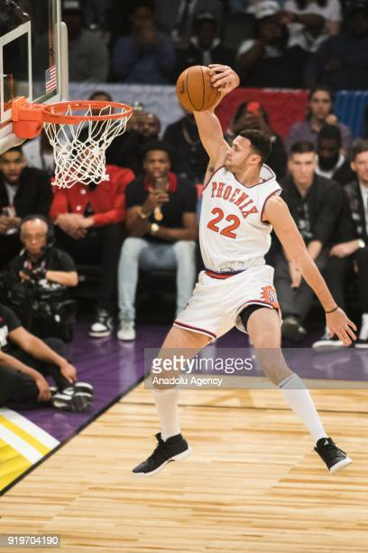 Larry Nance Jr #24 of the Cleveland Cavaliers competes in the Verizon Slam Dunk Contest during State Farm AllStar Saturday Night as part of AllStar...