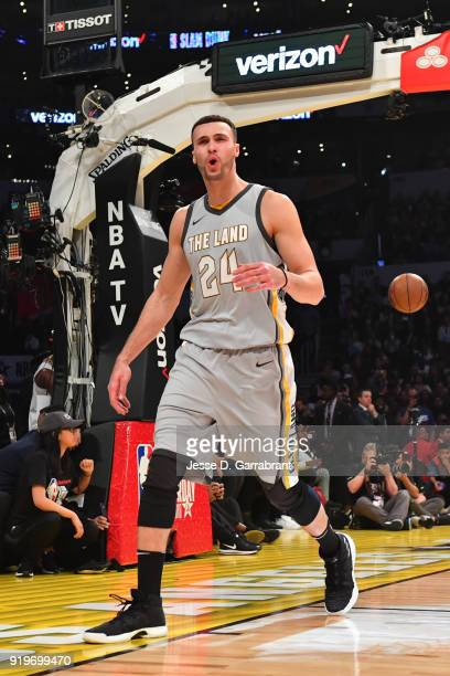 Larry Nance Jr #24 of the Cleveland Cavaliers dunks celebrates after dunking the ball during the Verizon Slam Dunk Contest during State Farm AllStar...