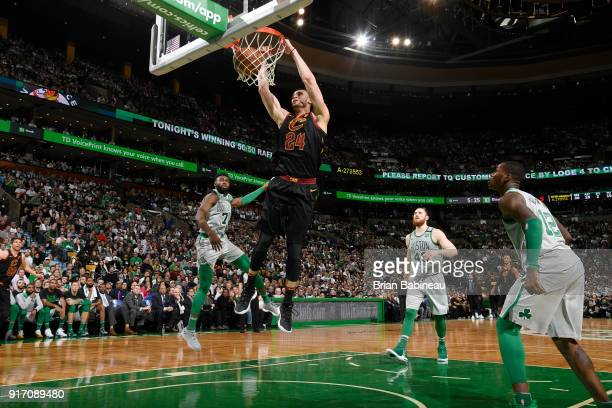 Larry Nance Jr #24 of the Cleveland Cavaliers dunks the ball during the game against the Boston Celtics on February 11 2018 at the TD Garden in...