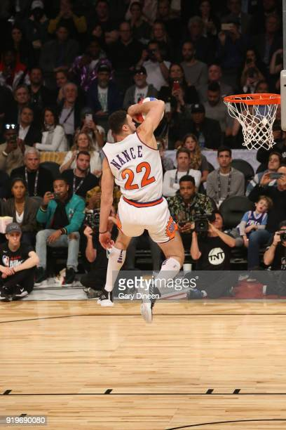 Larry Nance Jr #24 of the Cleveland Cavaliers dunks the ball during the Verizon Slam Dunk Contest during State Farm AllStar Saturday Night as part of...