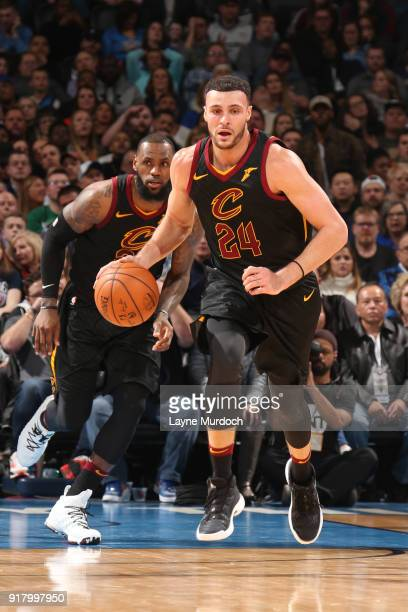 Larry Nance Jr #24 of the Cleveland Cavaliers handles the ball against the Cleveland Cavaliers on February 13 2018 at Chesapeake Energy Arena in...