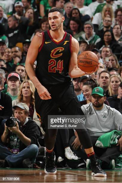 Larry Nance Jr #24 of the Cleveland Cavaliers handles the ball during the game against the Boston Celtics on February 11 2018 at TD Garden in Boston...