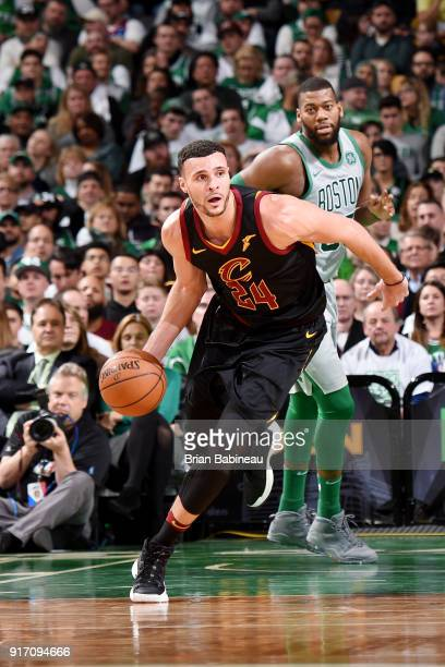 Larry Nance Jr #24 of the Cleveland Cavaliers handles the ball during the game against the Boston Celtics on February 11 2018 at the TD Garden in...