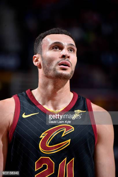 Larry Nance Jr #24 of the Cleveland Cavaliers looks on during the game against the Washington Wizards on February 22 2018 at Quicken Loans Arena in...