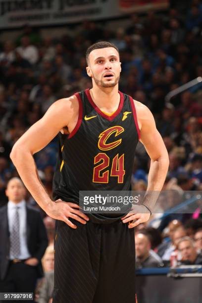 Larry Nance Jr #24 of the Cleveland Cavaliers reacts to a play against the Oklahoma City Thunder on February 13 2018 at Chesapeake Energy Arena in...