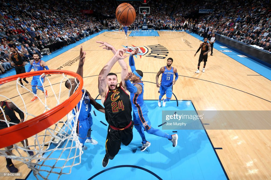 Larry Nance Jr. #24 of the Cleveland Cavaliers shoots the ball against the Oklahoma City Thunder on February 13, 2018 at Chesapeake Energy Arena in Oklahoma City, Oklahoma.