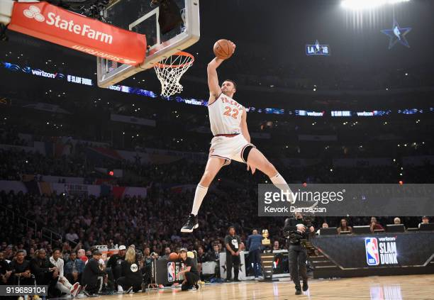Larry Nance Jr #24 of the Cleveland Cavaliers wearing his dad's jersey competes in the 2018 Verizon Slam Dunk Contest at Staples Center on February...