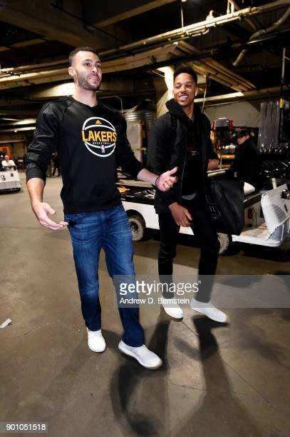 Larry Nance Jr #7 of the Los Angeles Lakers and Anthony Brown of the Minnesota Timberwolves arrive to the arena prior to the game between the two...