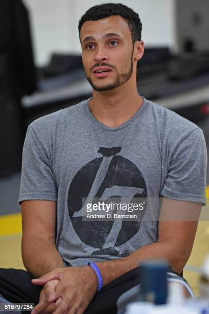 Larry Nance Jr #7 of the Los Angeles Lakers attends a press conference in El Segundo California at the Toyota Sports Center on July 2017 NOTE TO USER...