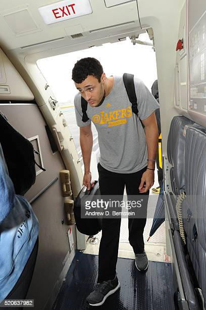 Larry Nance Jr #7 of the Los Angeles Lakers boards the plane in route to New Orleans Louisiana from Inglewood California on April 7 2016 NOTE TO USER...