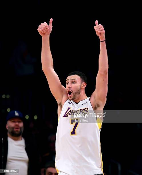 Larry Nance Jr #7 of the Los Angeles Lakers celebrates a jump ball during a 127107 win over the New York Knicks at Staples Center on January 21 2018...
