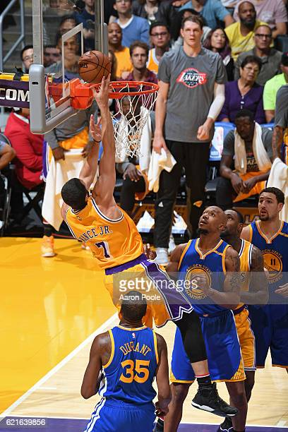Larry Nance Jr #7 of the Los Angeles Lakers drives to the basket against the Golden State Warriors on November 4 2016 at STAPLES Center in Los...
