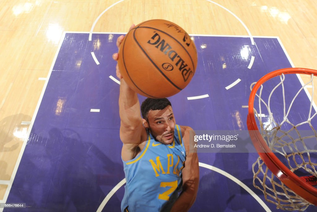 Larry Nance Jr. #7 of the Los Angeles Lakers drives to the basket against the Washington Wizards on October 25, 2017 at STAPLES Center in Los Angeles, California.
