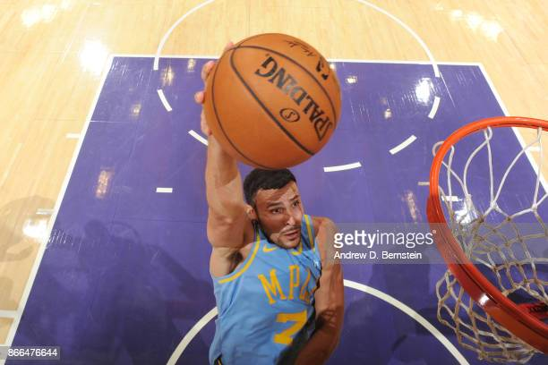 Larry Nance Jr #7 of the Los Angeles Lakers drives to the basket against the Washington Wizards on October 25 2017 at STAPLES Center in Los Angeles...