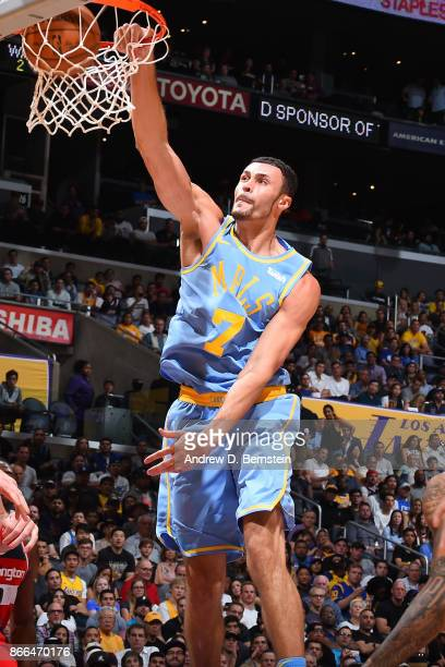 Larry Nance Jr #7 of the Los Angeles Lakers dunks the ball against the Washington Wizards on October 25 2017 at STAPLES Center in Los Angeles...