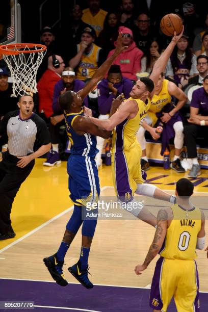 Larry Nance Jr #7 of the Los Angeles Lakers dunks the ball against the Golden State Warriors on December 18 2017 at STAPLES Center in Los Angeles...