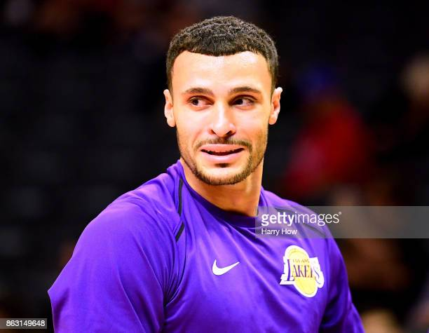 Larry Nance Jr #7 of the Los Angeles Lakers during warm up before the game against the LA Clippers at Staples Center on October 10 2017 in Los...
