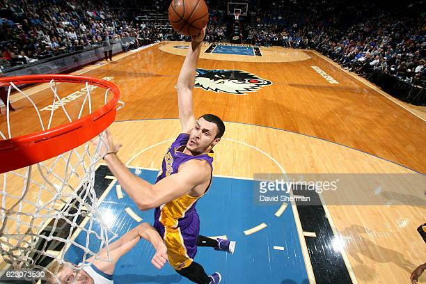 Larry Nance Jr #7 of the Los Angeles Lakers goes for the dunk during the game against the Minnesota Timberwolves on November 13 2016 at Target Center...