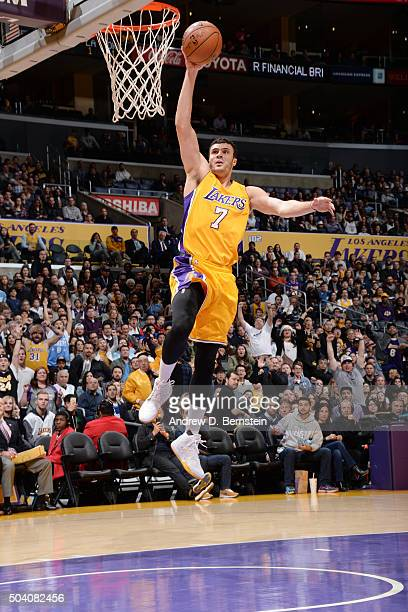 Larry Nance Jr #7 of the Los Angeles Lakers goes up for a dunk during the game against the Oklahoma City Thunder on January 8 2016 at STAPLES Center...