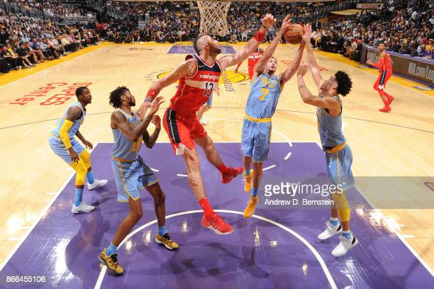 Larry Nance Jr #7 of the Los Angeles Lakers handles the ball against the Washington Wizards on October 25 2017 at STAPLES Center in Los Angeles...