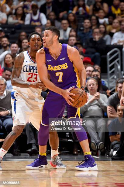 Larry Nance Jr #7 of the Los Angeles Lakers handles the ball against the LA Clippers on November 27 2017 at STAPLES Center in Los Angeles California...