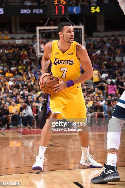 Larry Nance Jr #7 of the Los Angeles Lakers handles the ball during the preseason game on September 30 2017 at Honda Center in Anaheim California...