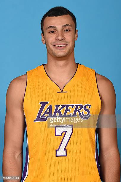 Larry Nance Jr #7 of the Los Angeles Lakers poses for a headshot during media day at Toyota Sports Center on September 28 2015 in El Segundo...