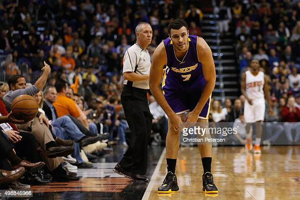 Larry Nance Jr #7 of the Los Angeles Lakers reacts during the NBA game against the Phoenix Suns at Talking Stick Resort Arena on November 16 2015 in...
