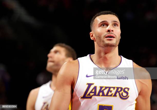 Larry Nance Jr #7 of the Los Angeles Lakers reacts to a play against the Portland Trail Blazers on November 2 2017 at the Moda Center in Portland...