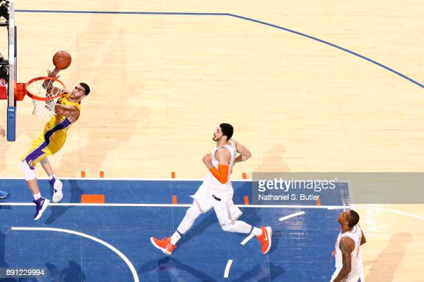 Larry Nance Jr #7 of the Los Angeles Lakers shoots the ball during the game against the New York Knicks on December 12 2017 at Madison Square Garden...