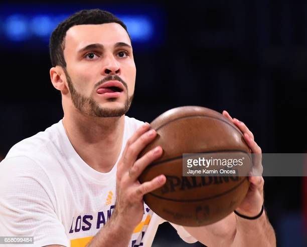 Larry Nance Jr #7 of the Los Angeles Lakers warms up before the game against the Portland Trail Blazers at Staples Center on March 26 2017 in Los...