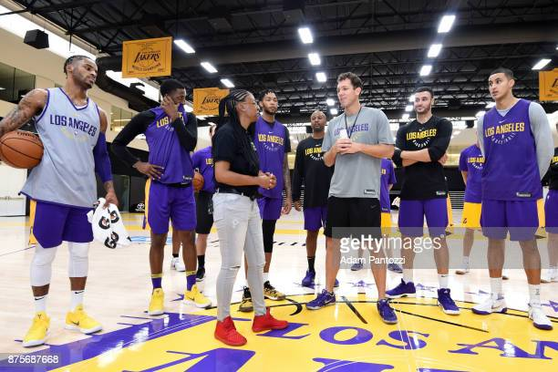 Larry Nance Jr introduces his pen pal former US Army specialist Bianca Campbell to Luke Walton of the Los Angeles Lakers at UCLA Health Training...