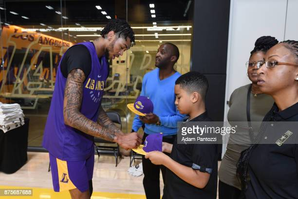 Larry Nance Jr introduces his pen pal former US Army specialist Bianca Campbell to Brandon Ingram of the Los Angeles Lakers at UCLA Health Training...